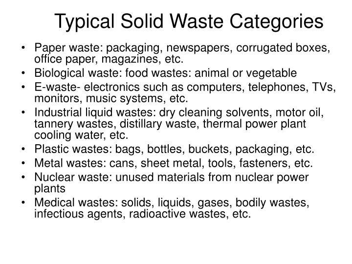 Typical Solid Waste Categories