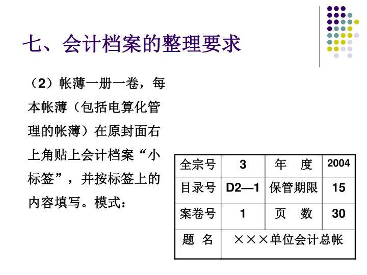 七、会计档案的整理要求