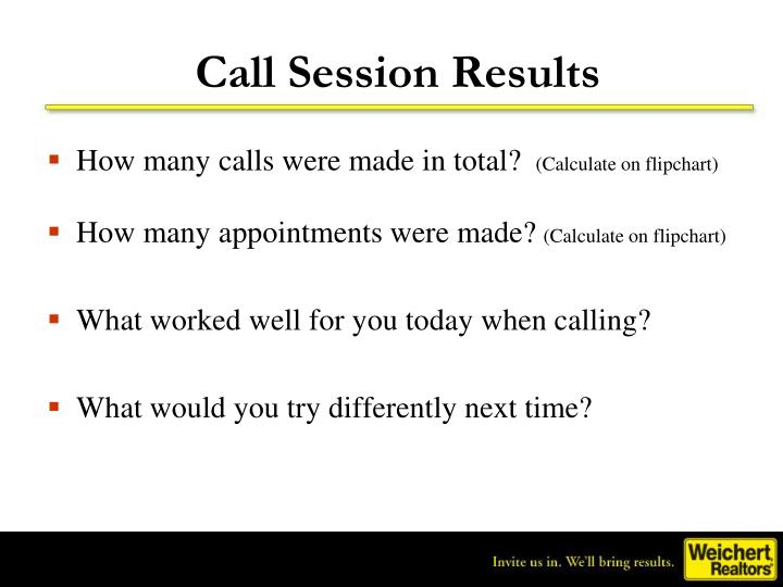 Call Session Results