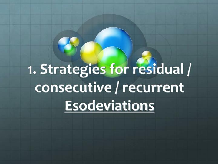 1. Strategies for residual / consecutive / recurrent