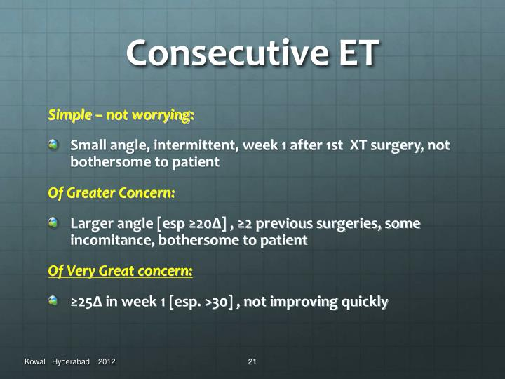 Consecutive ET