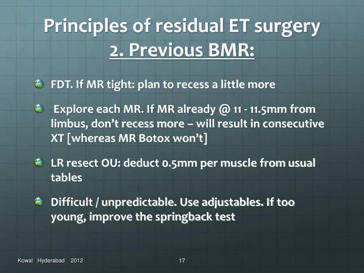 Principles of residual ET surgery