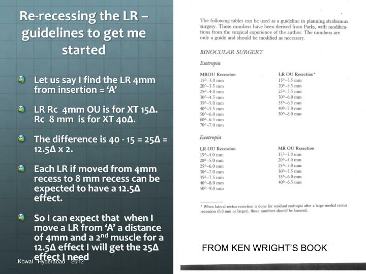 Re-recessing the LR – guidelines to get me started