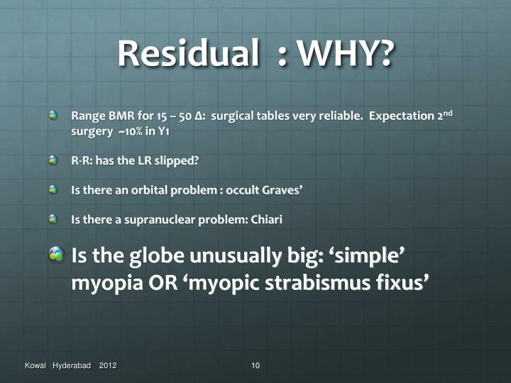 Residual  : WHY?