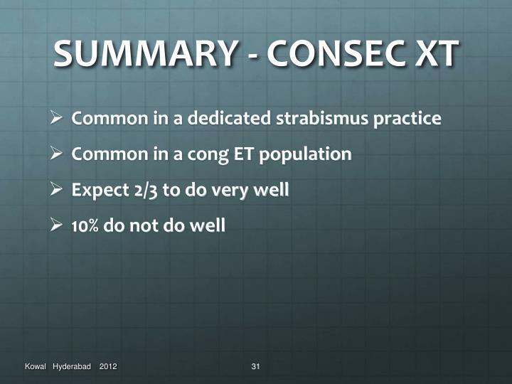 SUMMARY - CONSEC XT