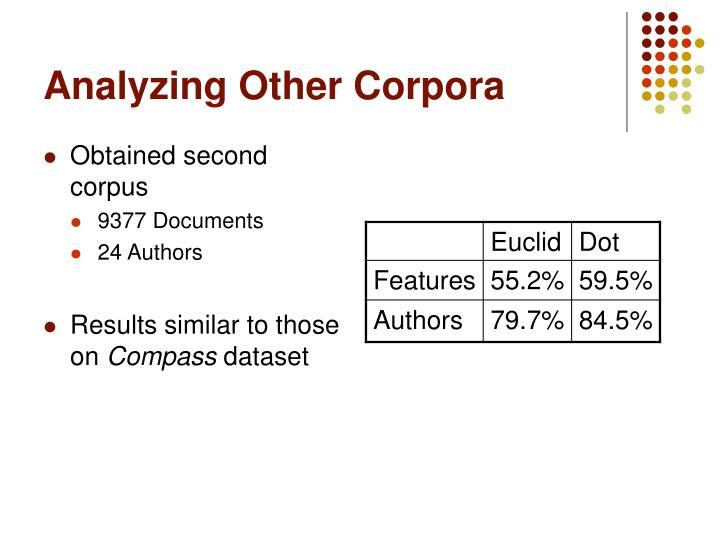 Analyzing Other Corpora