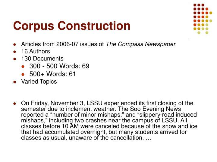 Corpus Construction