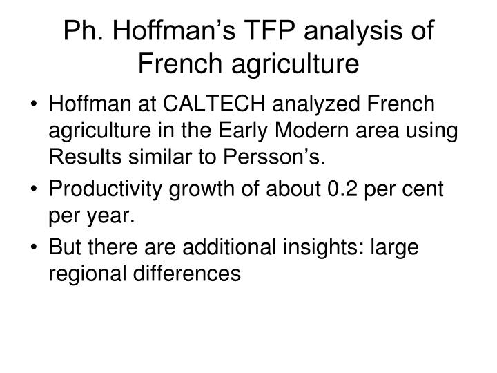 Ph. Hoffman's TFP analysis of French agriculture