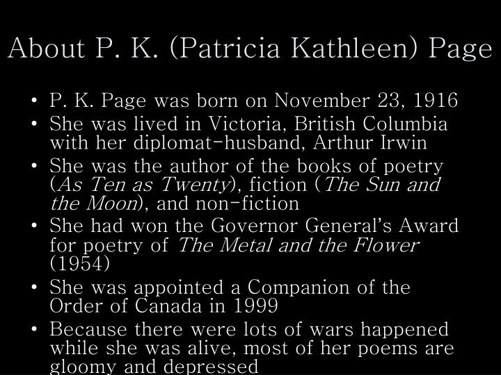 About P. K. (Patricia Kathleen) Page