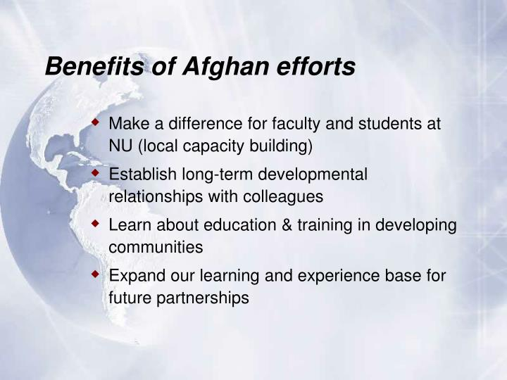 Benefits of Afghan efforts