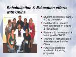 rehabilitation education efforts with china