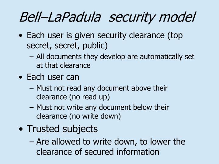 Bell–LaPadula  security model