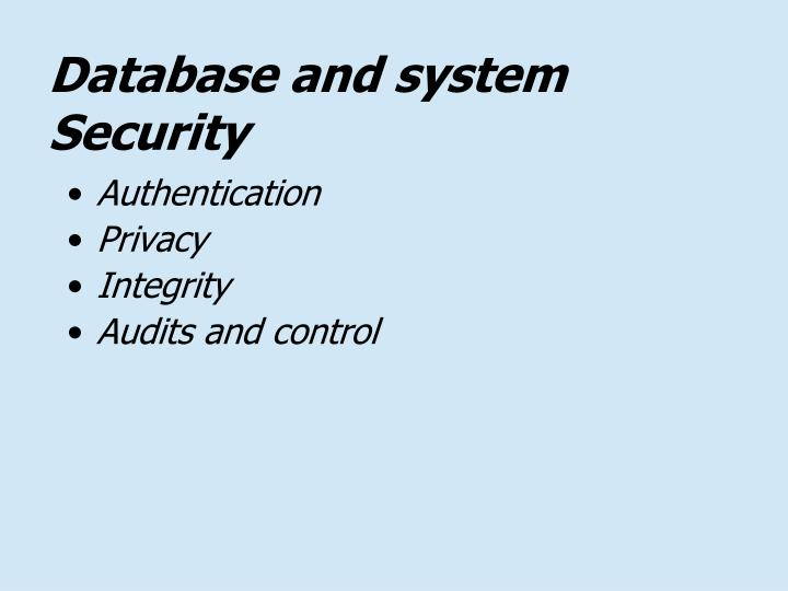 Database and system Security