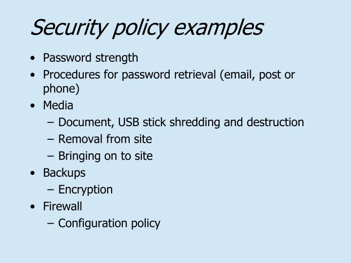 Security policy examples