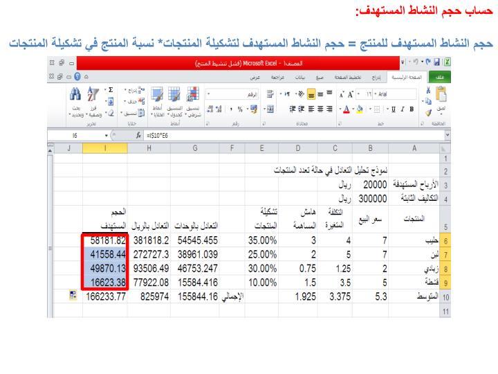 حساب حجم النشاط المستهدف: