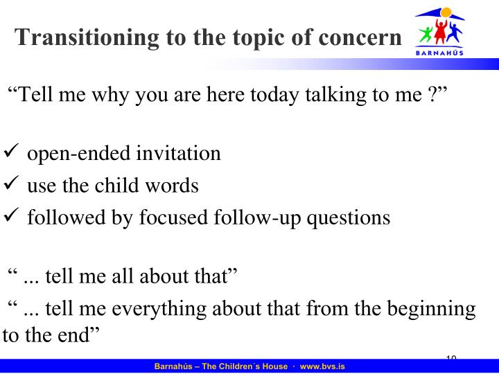 Transitioning to the topic of concern