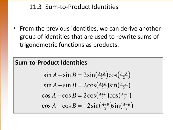 11.3Sum-to-Product Identities
