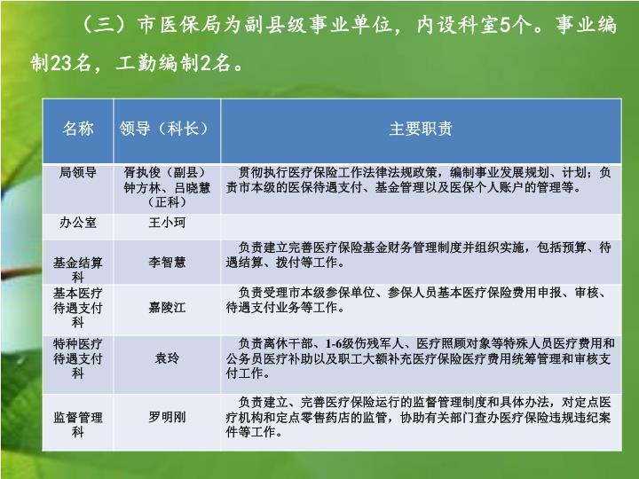 (三)市医保局为副县级事业单位,内设科室