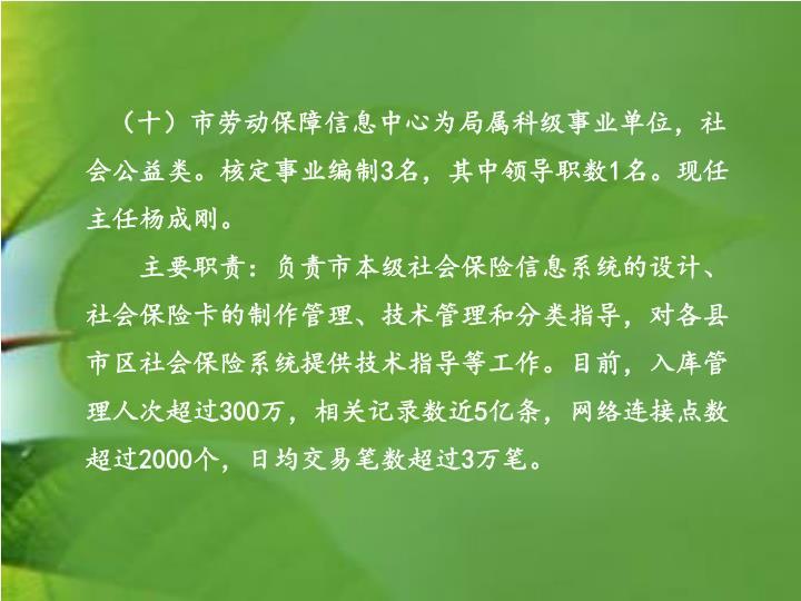(十)市劳动保障信息中心