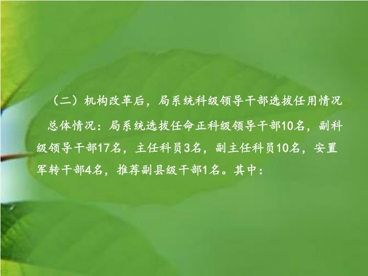 (二)机构改革后,局系统科级领导干部选拔任用情况
