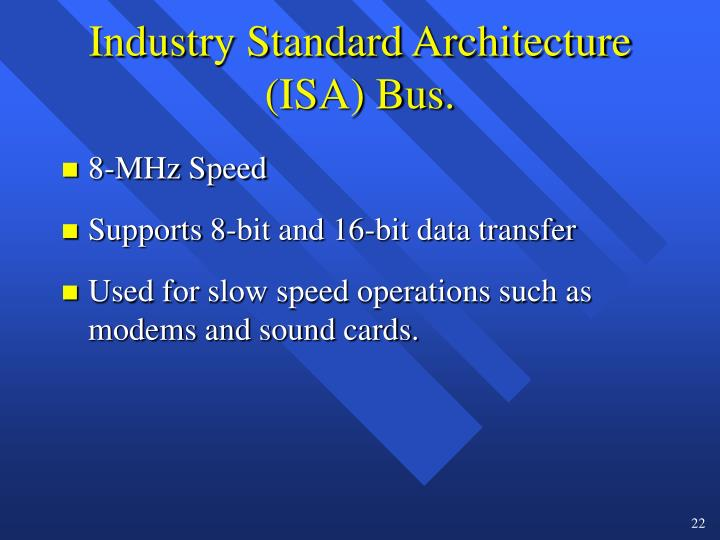 Industry Standard Architecture (ISA) Bus.