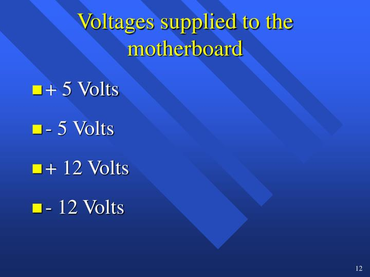 Voltages supplied to the motherboard