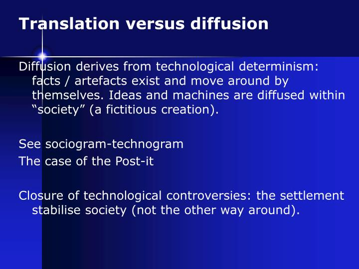 Translation versus diffusion