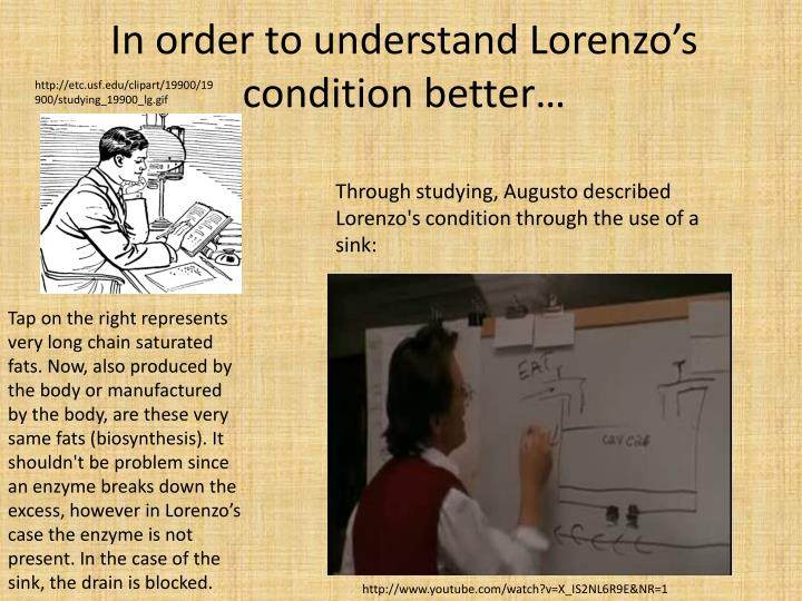 In order to understand Lorenzo's condition better…