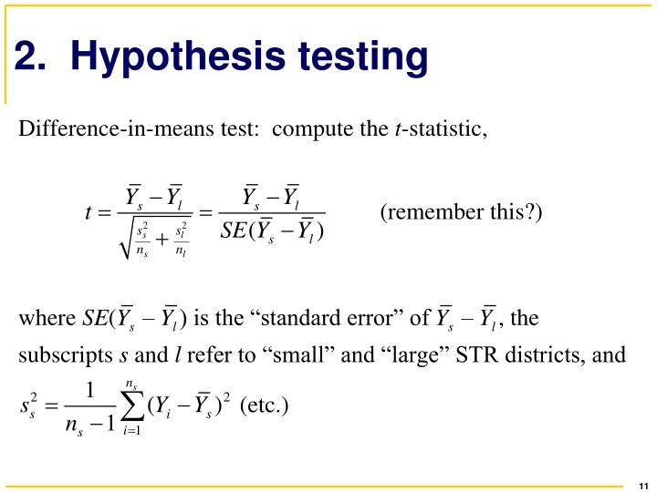 2.  Hypothesis testing