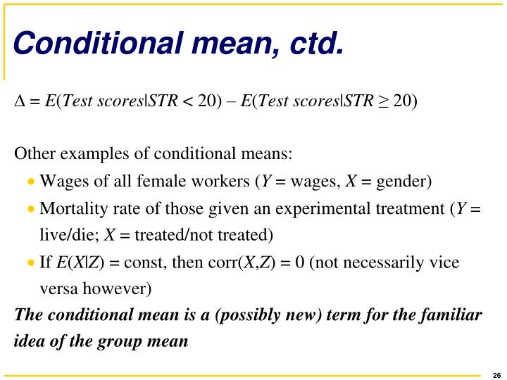 Conditional mean, ctd.