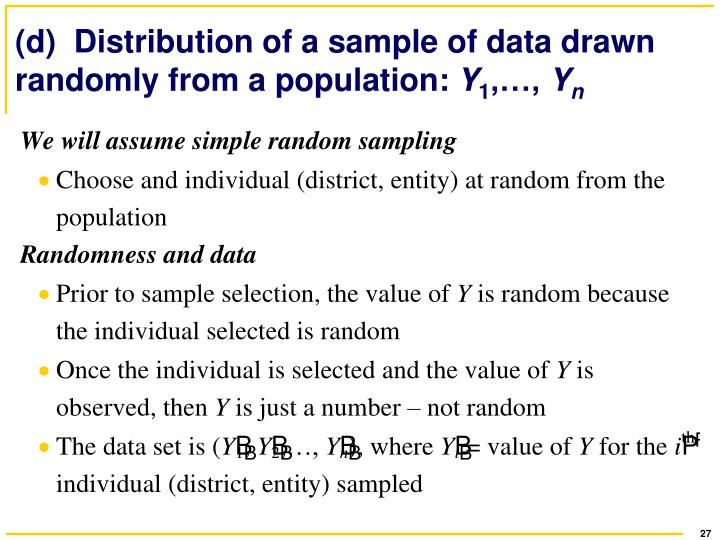 (d)  Distribution of a sample of data drawn randomly from a population: