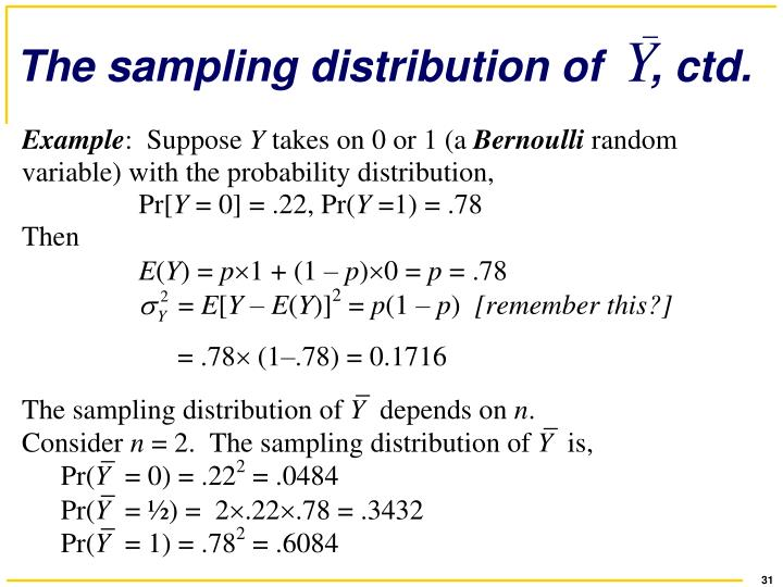 The sampling distribution of    , ctd.