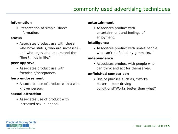 commonly used advertising techniques