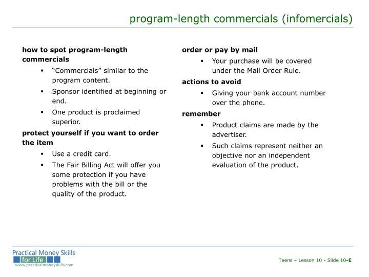 how to spot program-length commercials