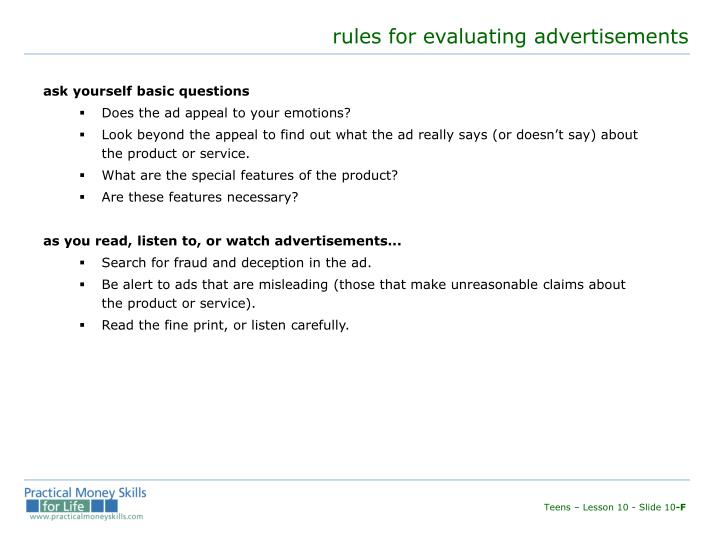 rules for evaluating advertisements