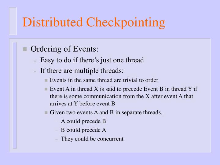 Distributed Checkpointing