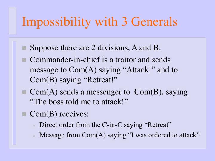 Impossibility with 3 Generals
