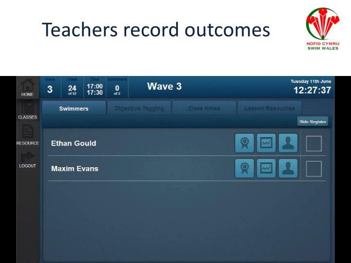 Teachers record outcomes