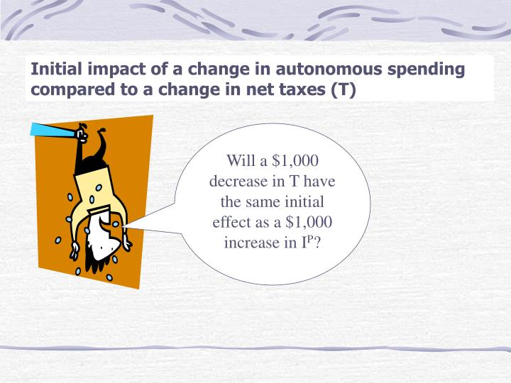 Initial impact of a change in autonomous spending compared to a change in net taxes (T)
