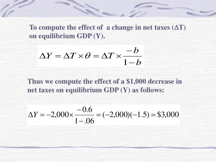 To compute the effect of  a change in net taxes (