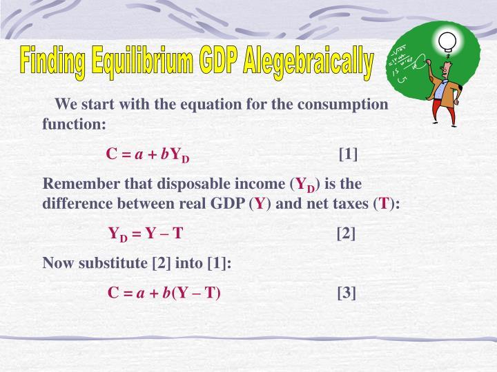 Finding Equilibrium GDP Alegebraically