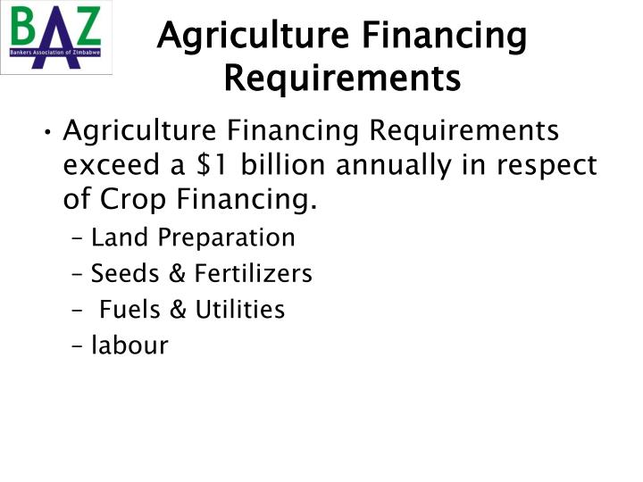 Agriculture Financing Requirements