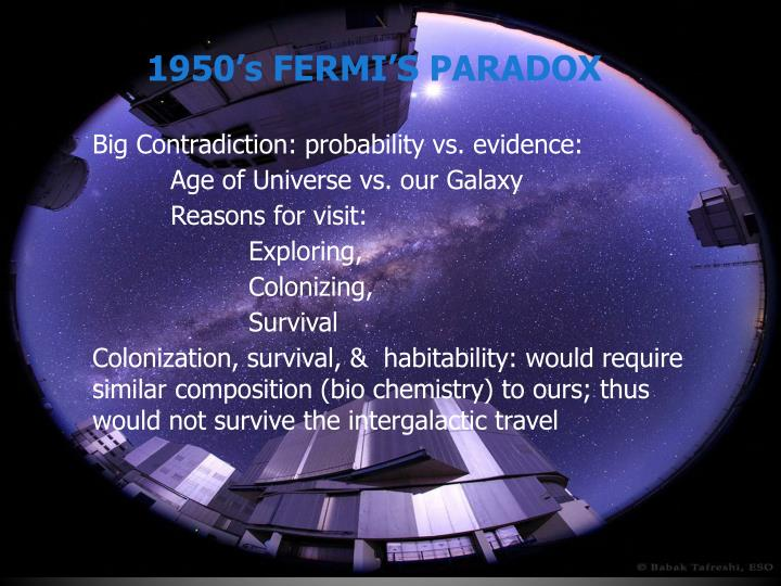 1950's FERMI'S PARADOX