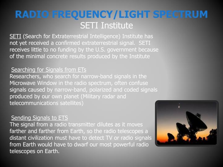 RADIO FREQUENCY/LIGHT SPECTRUM
