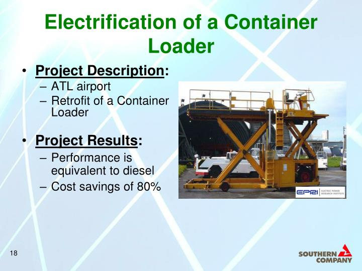 Electrification of a Container Loader