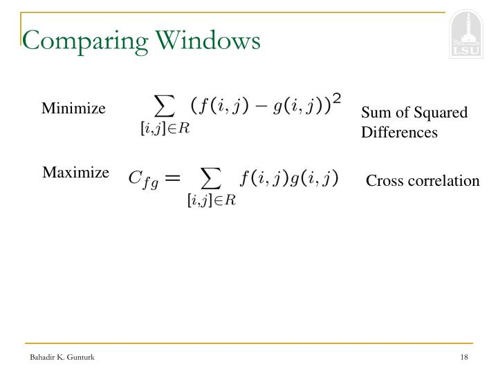 Comparing Windows