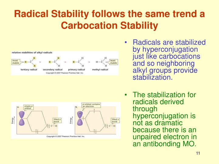 Radical Stability follows the same trend a Carbocation Stability