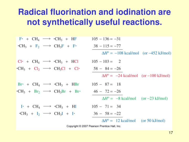 Radical fluorination and iodination are not synthetically useful reactions.