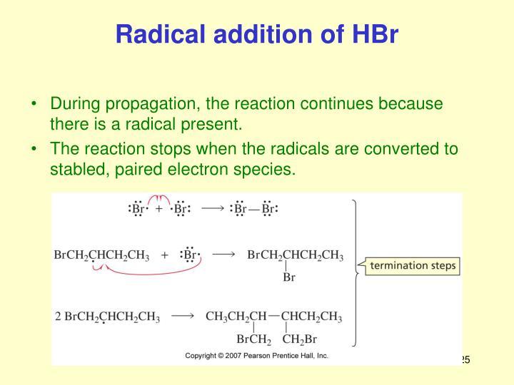 Radical addition of HBr