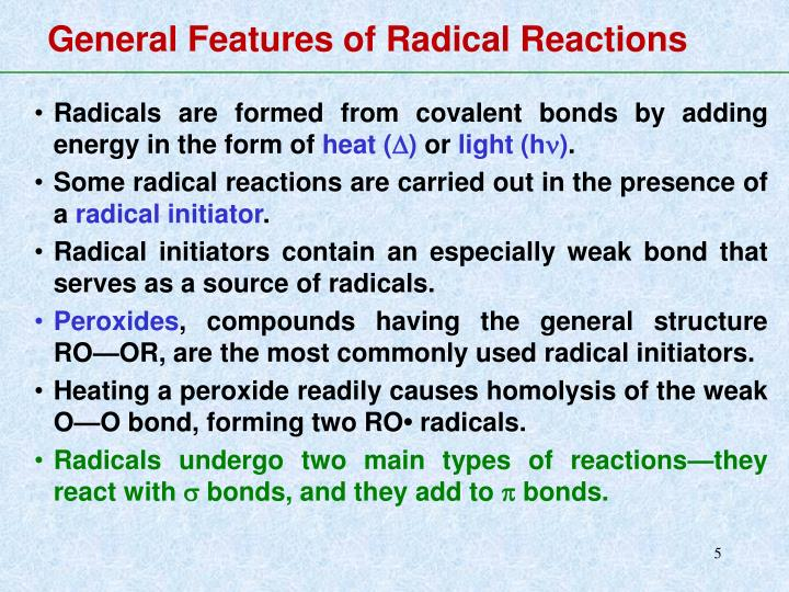 General Features of Radical Reactions